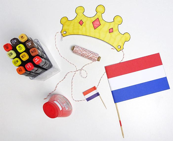 Printable DIY's voor Koningsdag kroontje en vlag