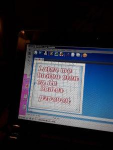 tekst op wandbord