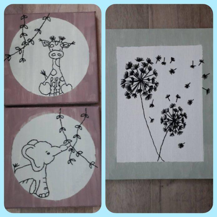 borduren op canvas